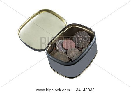 gray box with old copper coins of the eighteenth and nineteenth centuries in oxides