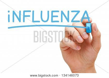 Hand writing Influenza with blue marker on transparent wipe board.