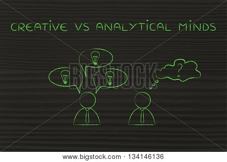 Businessmen With Contrasting Reactions, Creative Vs Analytical Minds