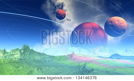 Fantasy Alien Planet. Rocks And Sky. 3D Illustration