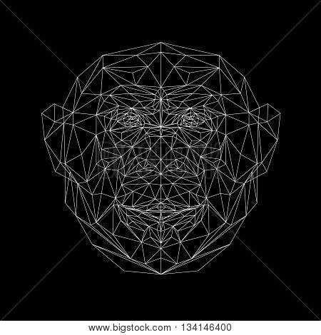 Vector portrait of monkey thin line style. Triangle illustration monkey for use as a print on t-shirt and poster. Geometric low poly chimpanzee design. African animal mammal. Monkey polygonal icon.