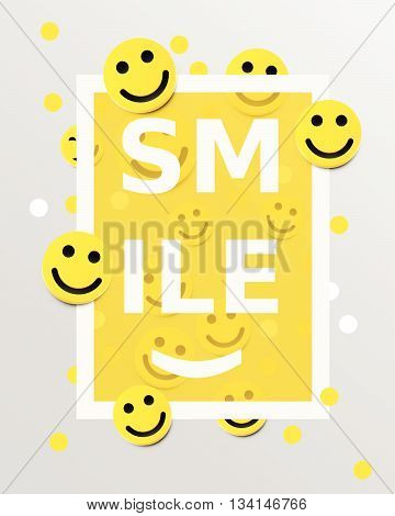 Smiley faces design elements. Vector illustration. Background with smiles. Happiness concept.