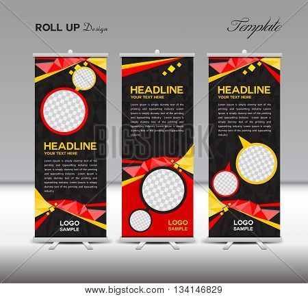 Red and black Roll Up Banner template vector illustration polygon background