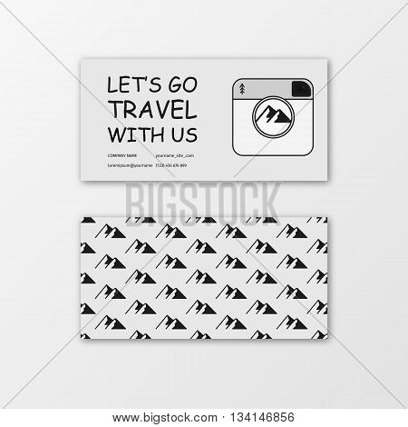 Summer Business card with camera and mountains for travel agency and tour guide. Vector illustration. Business card template set. Environment and tree theme business card template.