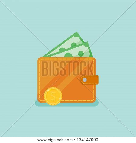 Wallet with money on teal background. Flat style vector illustration.