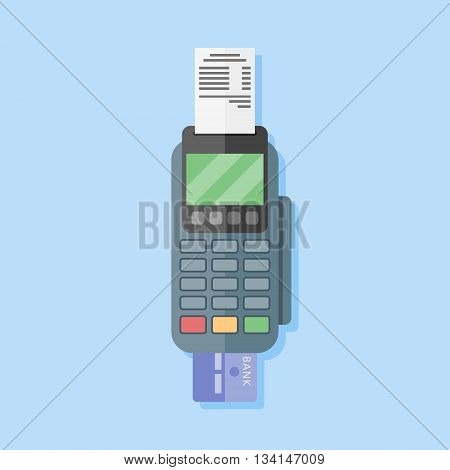 Pos terminal in flat style on blue background. Payment terminal. Credit card machine. Vector illustration.