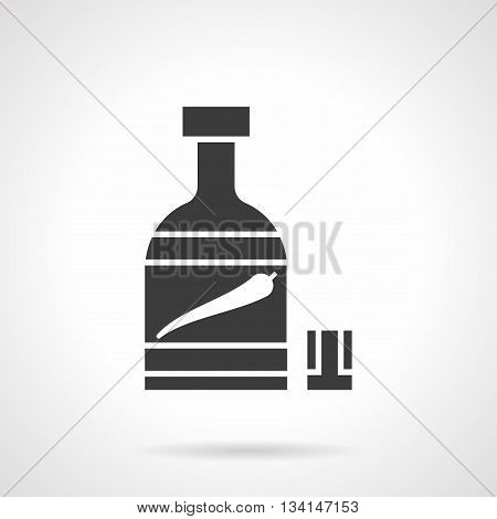 Monochrome silhouette of bottle and glass. Pepper tincture. Chili pepper with alcohol drink, chili oil. Hot spicy menu. Symbolic black glyph style vector icon.