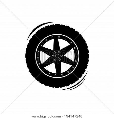 Black rotating wheel with tire track silhouette isolated on white background