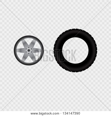 Car wheel and tire track isolated on transparent background