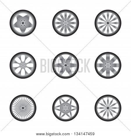 Set of nine car wheels silhouettes isolated on white background