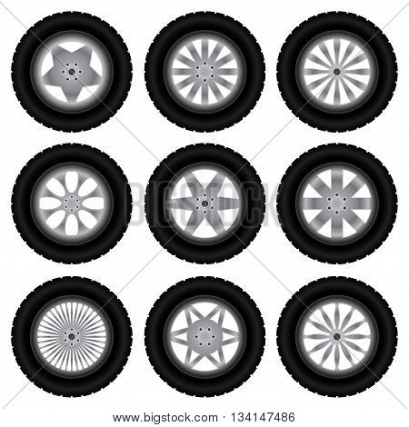 Set of nine wheels with tire tracks silhouettes