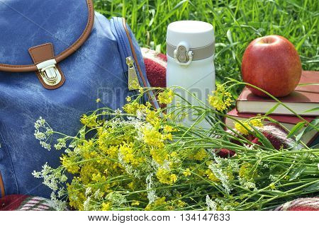 Blue backpack on red plaid with wild flowers books thermos and apple