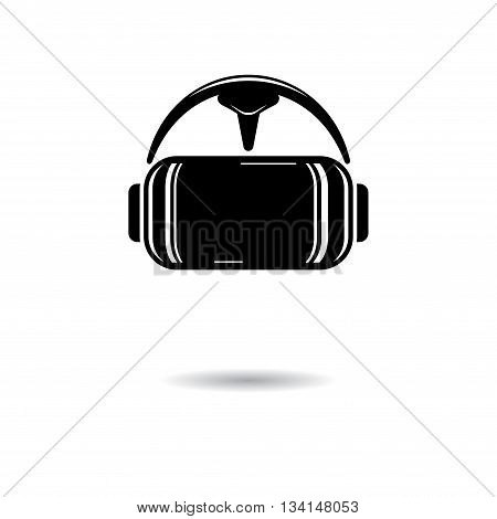 Virtual reality black glasses isolated on white background with shadow