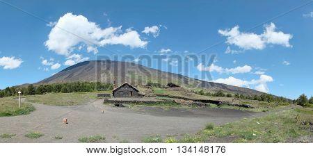 Etna Park and Galvarina refuge pan view, Sicily