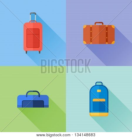 Set of travel bags flat icons. Suitcase, luggage case, backpack. Vector illustration.