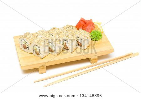 Sushi with wasabi and ginger - Isolated on white