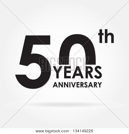 50 years anniversary emblem. Anniversary icon or label. 50 years celebration and congratulation design element. Vector illustration.