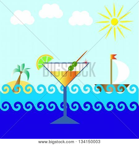 glass of martini with olives and a lemon on a background of the sea, palm trees, boat, sun and clouds