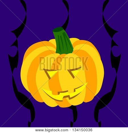 Smiling Halloween pumpkin on a dark blue background with black abstract lines