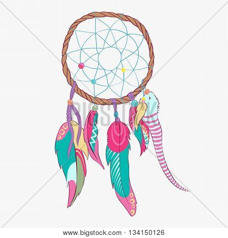 Dream catcher with indian vector feather. Magical dreamcatcher with sacred feathers to catch dreams pictogram