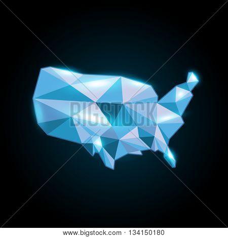 Blue Modern abstract usa map flash lights