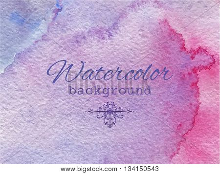 Vector lilac watercolor abstract background for your design. Hand drawn painting on paper.
