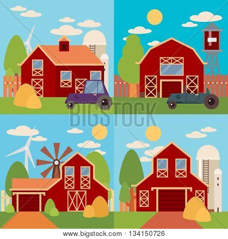 Tree and farm house elements. Natural background, organic farm products. Farm in the village flat Landscape. Set of elements - barn, tractor, building, windy mill, harvest, farming
