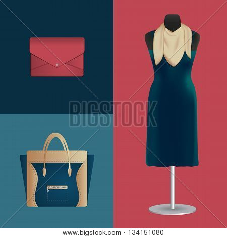 Vector illustration of dress and fashion accessories