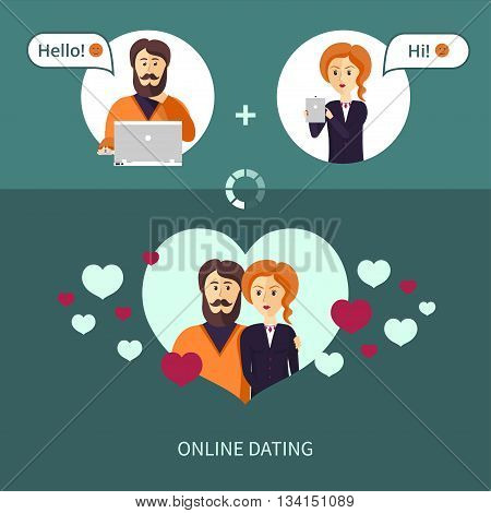 Vector illustration on the theme of on-line dating. The couple, who met on a dating site. Red-haired woman and a bearded man in a frame in the form heart.