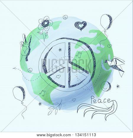 Vector illustration symbol of peace. Ballpoint pen drawing.