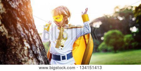 Kid Happy Superhero Youth Playful Concept