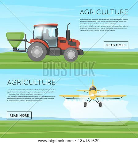 Tractor pours fertilizer. Flying yellow plane spraying agricultural chemicals pesticide. Agriculture. Agricultural vehicles. Harvesting, agriculture. Equipment for agriculture. Flat design vector.