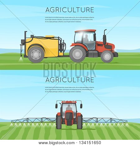 Tractor watering field. Agriculture. Agricultural vehicles. Harvesting, agriculture. Farm. Tractor processes the earth. Equipment for agriculture. Flat design vector illustration.