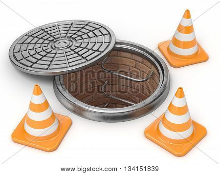 Open manhole and traffic cones. Under construction concept. 3D render illustration isolated on white background