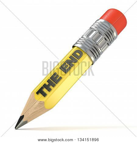 Yellow pencil THE END concept. 3D render illustration isolated on white background