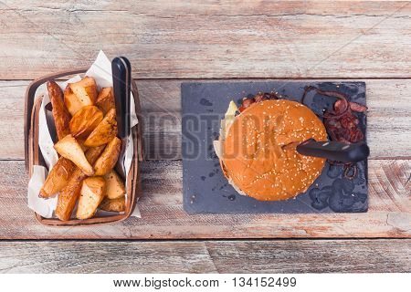 Bacon Cheese Burger And Potato Cuts, Top View