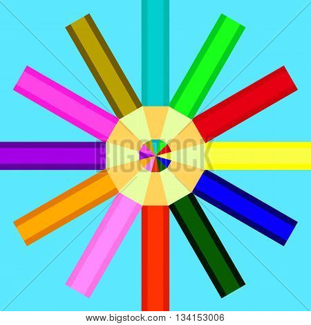 pencils of different colors are arranged in a circle on a blue background