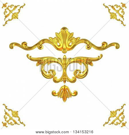3d illustration set of an ancient gold on a white background