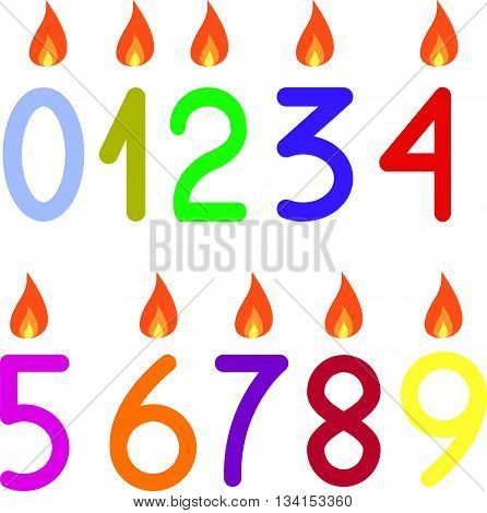 the numbers 0 to 9 with candles isolated
