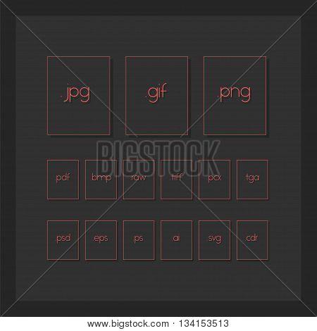 Dark Minimal File Type Icons. Image Format File