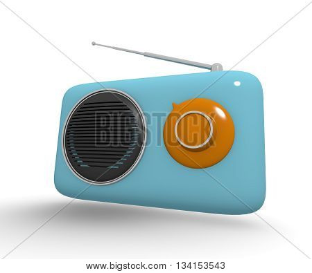 Vintage style radio on a white background 3d rendering