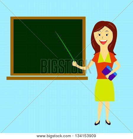 young beautiful woman teacher with pointer in hand is worth about board