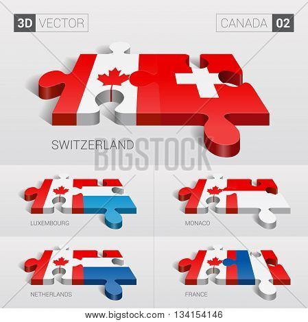 Canada and Switzerland, Luxembourg, Monaco, Netherlands, France Flag. 3d vector puzzle. Set 02.