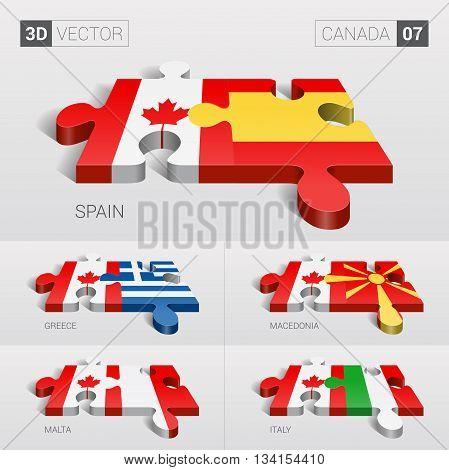 Canada and Spain, Greece, Macedonia, Malta, Italy Flag. 3d vector puzzle. Set 07.