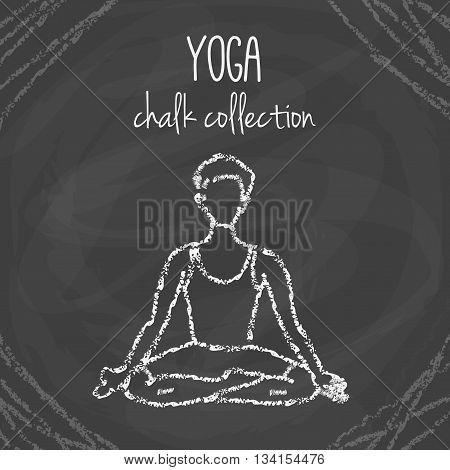 Vector yoga poses. Chalck asana illustrations on blackboard. International yoga day.