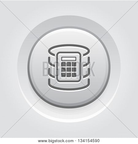 Secure Database Icon. Flat Design. Business Concept Grey Button Design