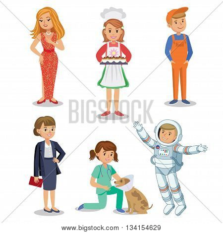 Vector Set of different professions. Kids profession in cartoon style. Businesswoman baker astronaut actress vet worker