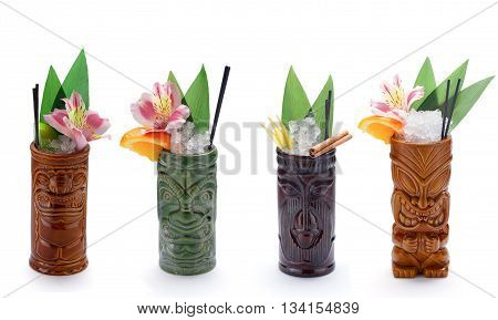 Tropical Cocktails Served In A Tiki Style Glass And Garnished With Fruits