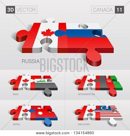 Canada and Russia, Iraq, Afghanistan, Nepal, Malaysia Flag. 3d vector puzzle. Set 11.