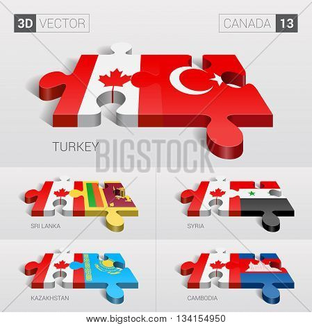 Canada and Turkey, Sri Lanka, Syria, Kazakhstan, Cambodia Flag. 3d vector puzzle. Set 13.